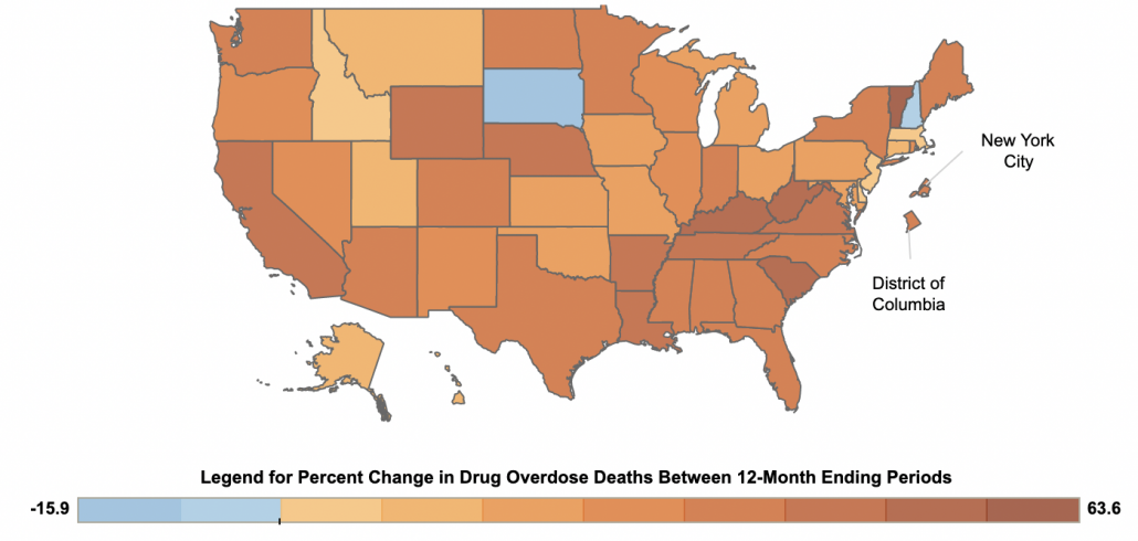 Overdoses Surge in US 2020 Map